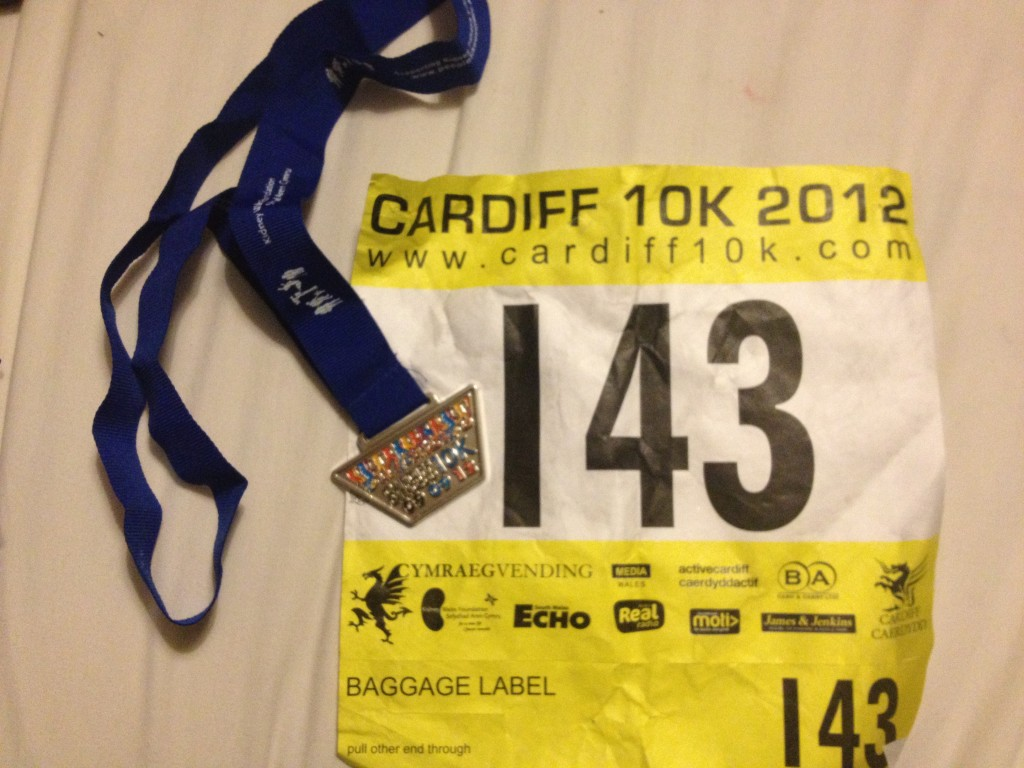 Cardiff 10k medal and race number