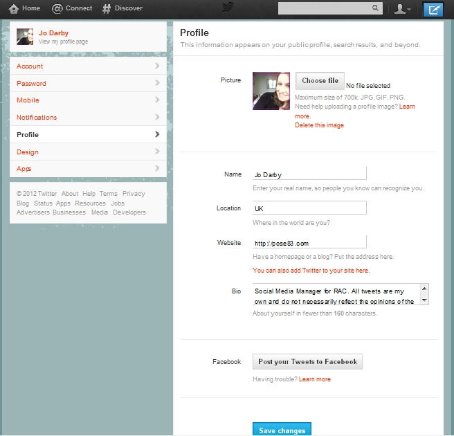 Edit profile page on Twitter